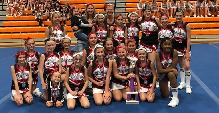 5th & 6th cheerleaders pose with the trophy.