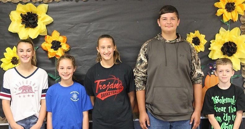TVMS October Students of the Month Eva Singer, Delaney Erickson, Ashlee Binsley, Logan Meiser, & Ethan Shilling.