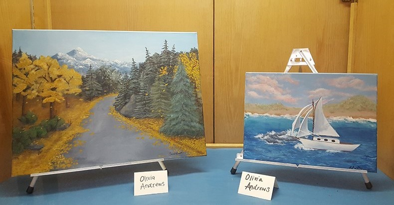 Acrylic landscape paintings by TVHS senior Olivia Andrews